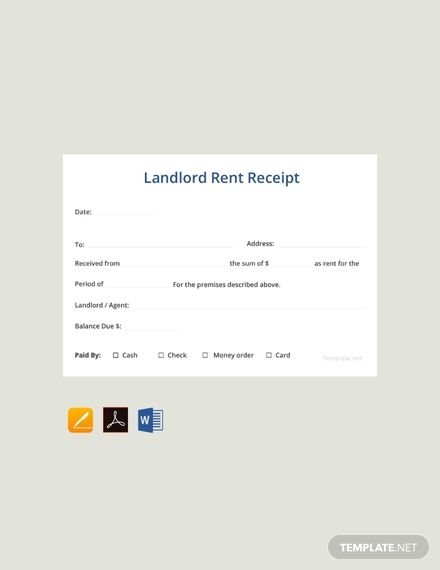 Sample Landlord Rent Receipt Template Free Pdf Word Apple Pages Google Docs Receipt Template Being A Landlord Templates