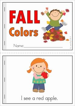 """Autumn / Fall Literacy Worksheets and Activities for Kindergarten. 52 pages. A page from the unit: """"Fall Colors"""" reader (black and white & color) with comprehension page"""