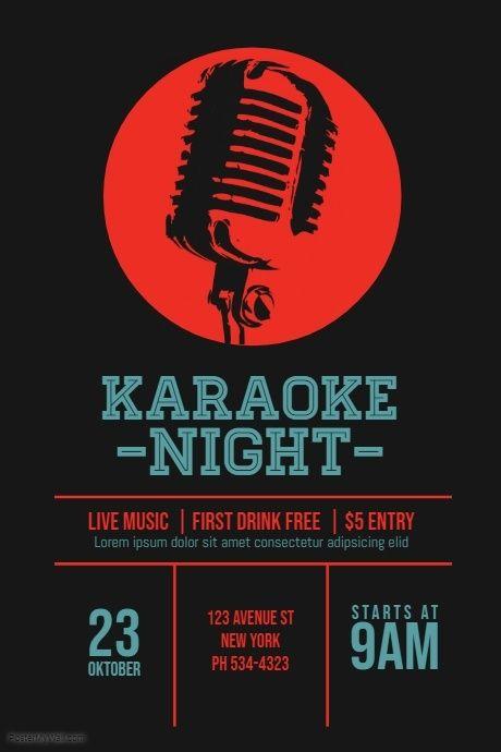 Karaoke Template Karaoke Karaoke Party Poster Design Inspiration