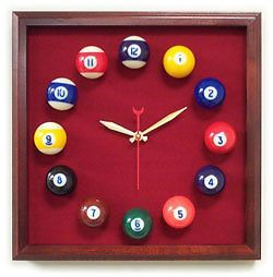 Billiard Pool Ball Clock Square Cherry Frame Burgandy Clock
