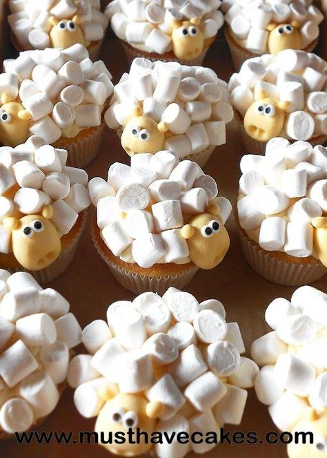 Different version of sheep cupcakes- soooooooo cute! (make with chocolate cake mix instead - much cuter)