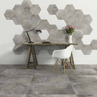 Rewind Sage 16x32 Rewind Sage 16x32 Rewind Sage Bullnose Concrete Look Tile Wall Tiles Porcelain Hexagon Tile