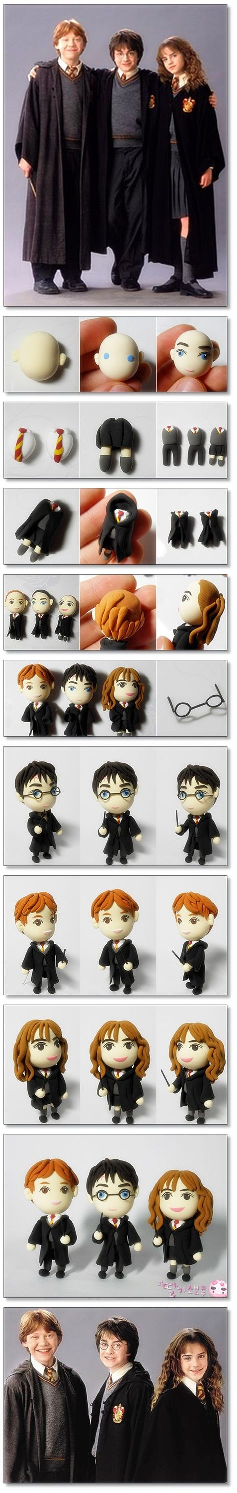 FREE TUTORIAL: polymer clay Harry Potter figurines.