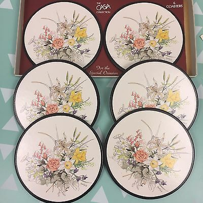The Casa Collection Round Coasters Six Boxed Cork Backed Unused Floral Bouquet Bird Coasters Floral Bouquets Rustic Placemats