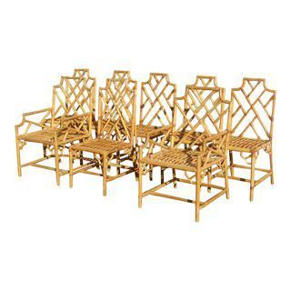 Surprising Vintage Bamboo Rattan Dining Chairs Set Of 8 Kitchen Ocoug Best Dining Table And Chair Ideas Images Ocougorg