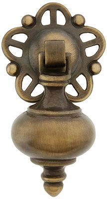 Vintage Brass Rosette Cabinet Drawer Knob Pull w// Round Back Plate