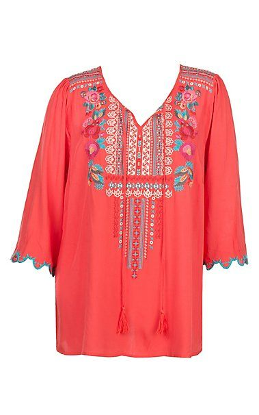 93849d9857 April Sky Women's Red Embroidered Tunic with Scallop Sleeves Fashion ...