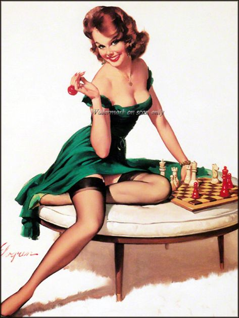 "24x30 Elvgren 1955 PinUp Girl /""A Lot At Steak/"" Cook Out BBQ Poster"