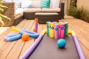 Turn Pool Noodles Into A Backyard Bowling Alley For Kids Bowling Games For Kids Diy Kids Games Diy Bowling Game