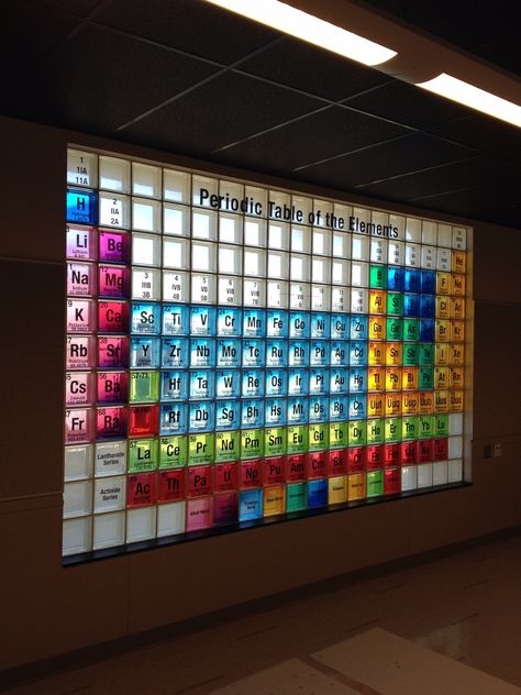 Check out this cool periodic table of elements done completely with color glass blocks! Perfect for a school classroom or science lab. Make as a calendar Classroom Design, School Classroom, Classroom Decor, Glass Block Installation, Science Room, Teaching Chemistry, Glass Brick, Dream School, Creative Decor