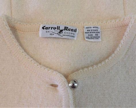 Carroll Reed Ski Shops Cream Boiled Wool Cropped Cardigan Women's Size 10