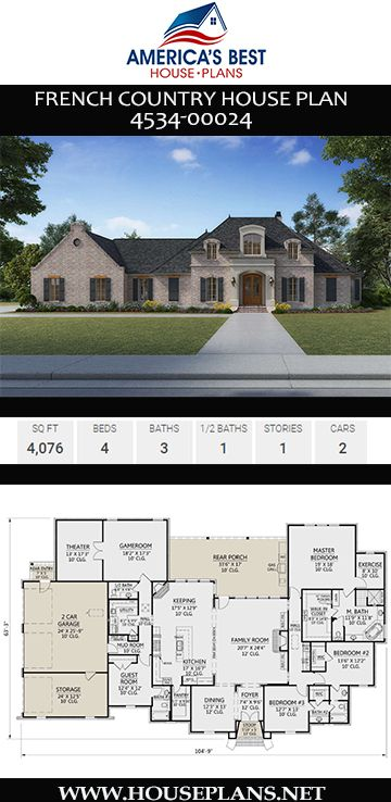 House Plan 4534 00024 French Country Plan 4 076 Square Feet 4 Bedrooms 3 5 Bathrooms French Country House Plans Country House Design French Country House