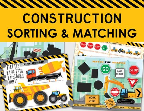 Construction Vehicles Sorting & Matching Printable Busy Book   Truck Learning Binder Toddler, Preschool