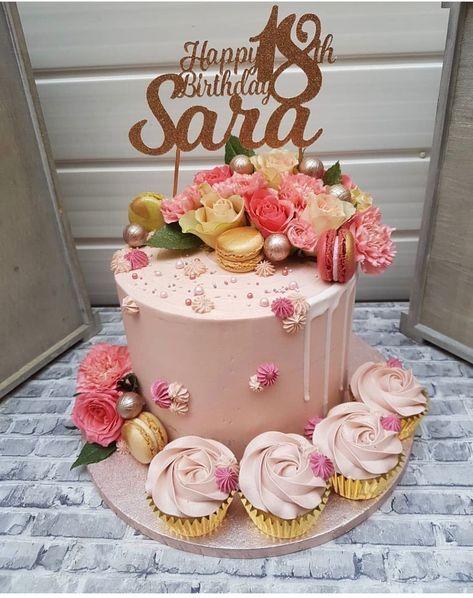 Birthday cake 🎂 🌹 buttercream cream cake decorating roses and cake girly cake golden leaf cake inspiration home made cake – Artofit Elegant Birthday Cakes, Beautiful Birthday Cakes, 21st Birthday Cakes, Birthday Cakes For Women, Birthday Ideas, Birthday Cookies, Happy Birthday, Fondant Cupcakes, Cupcake Cakes
