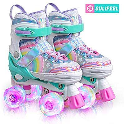 Sulifeel Rainbow Unicorn 4 Size Adjustable Light Up Roller Skates For Girls Boys And Kids Small Us 9 Light Up Roller Skates Kids Roller Skates Roller Skates