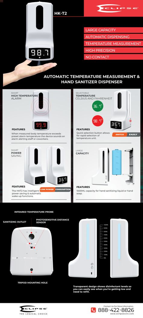 HK-T2 Temperature measurement and hand sanitizer dispenser