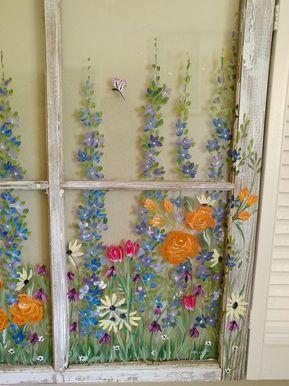 Painted window ideas,SOLD window ideas,windows and shutters,window pane art,unique window,window decor,window wall art,floral windows,custom