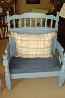 blue crib bench