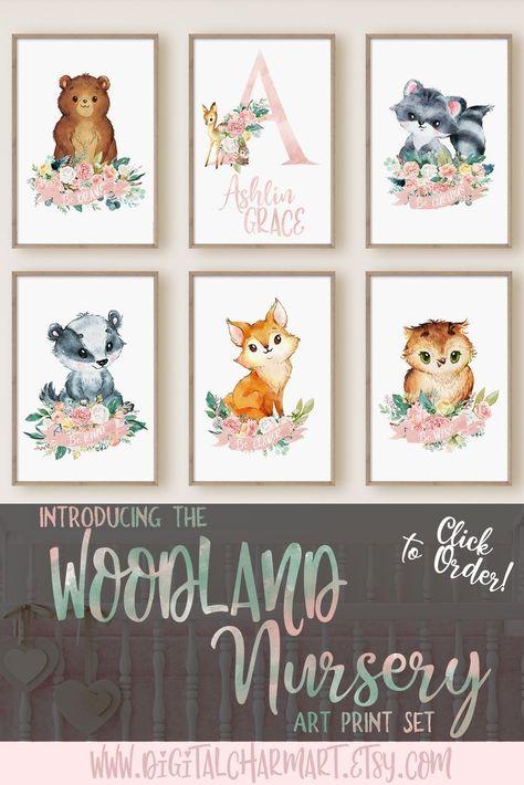 Woodland Animal Pink Fl Nursery Art