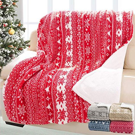 Couch,Sofa and Gift 50x60 inches Bedsure Christmas Holiday Sherpa Fleece Throw Blanket Snowflake Red and White Fuzzy Warm Throws for Winter Bedding