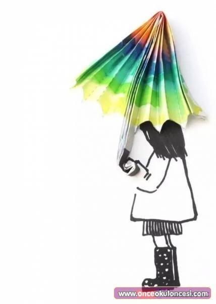Semsiyeli Kiz Boyama Sayfalari Sanat Gorsel Sanatlar