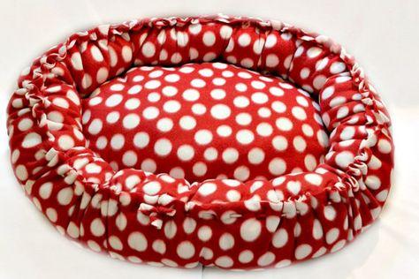 Dog Bed Red Polka Dots