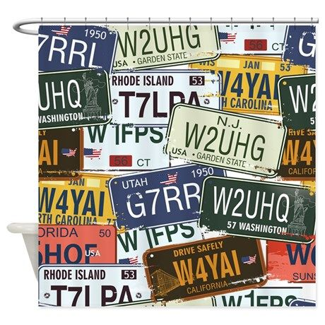 Vintage License Plates Shower Curtain On CafePress