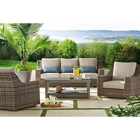 Member S Mark Nantucket 4 Piece Deep Seating Set Brown Deep Seating Outdoor Furniture Sets Patio Seating Sets