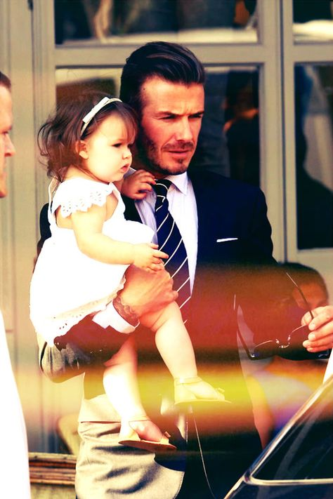Victoria Beckham and David Beckham lunched with their daughter Harper Beckham at 202 restaurant in London today. Victoria wore one of her own