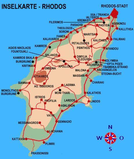 Karte Rhodos Urlaub.Sehenswürdigkeiten Und Dörfer Auf Rhodos Urlaube In 2019 Rhodos