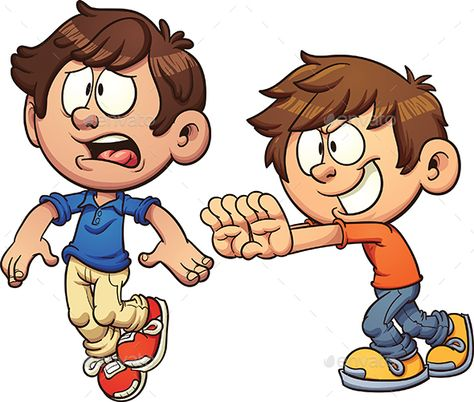 Buy Kid Shoving Another Kid by memoangeles on GraphicRiver. Cartoon kid shoving another kid. Vector clip art illustration with simple gradients. Each on a separate layer.