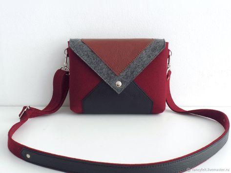 8cb4373cba88 Женские сумки ручной работы. Ярмарка Мастеров - ручная работа. Купить  Винная сумка через плечо из фетра и натуральной кожи. Handmade.