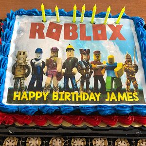 Roblox Edible Cake Topper Roblox Edible Cake Topper Image Frosting Sheet Roblox Cake Etsy Roblox Cake Edible Cake Toppers Kids Cake