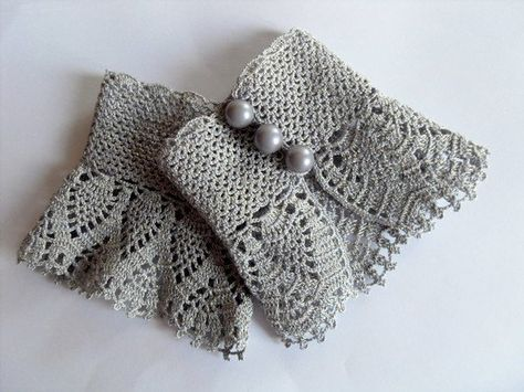 Crochet Gloves Victorian Gloves Gray Lace Gloves Pearl Buttons Bridesmaid gift Shabby Chic Silver Grey Gloves
