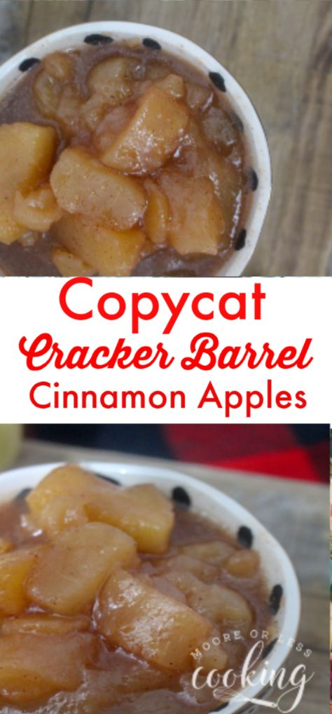 Copycat Cracker Barrel Cinnamon Apples is a simple Slow Cooker recipe that is so delicious and easy to make! Just dump all of the ingredients in the slow cooker for a delicious dessert or side dish. #apples #slowcooker #copycat #cinnamon #fall #autumn #crockpot