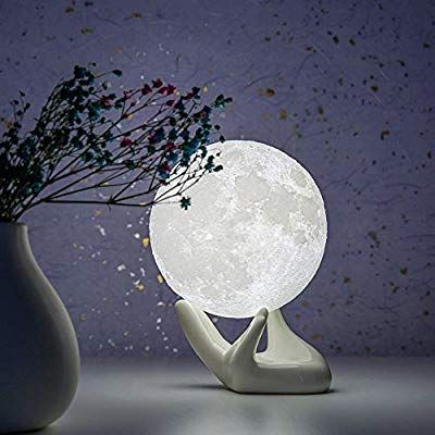 Brightworld Moon Lamp 3 5 Inch 3d Printing Lunar Lamp Night Light With Black Hand Stand As Kids Women G In 2020 Birthday Gifts For Boys Decorative Spheres Night Light
