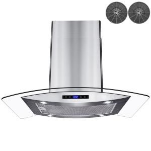 Akdy 36 In 343 Cfm Convertible Island Mount Range Hood In Black Painted Stainless Steel With Glass And Carbon Filters Rh0481 The Home Depot Range Hood Led Lights Glass