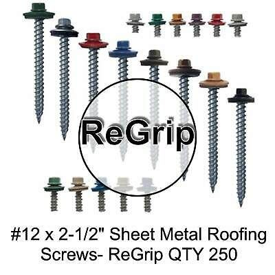 12 Sheet Metal Roofing Screws Sharp Point Regrip Screws 1 4 Hex Head Ebay In 2020 Sheet Metal Roofing Metal Roof Roofing Screws