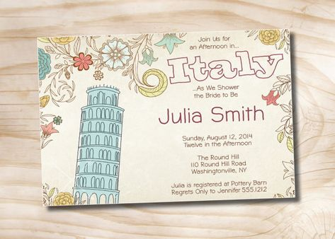 AFTERNOON IN ITALY Custom Baby Shower/Bridal Shower Invitation Digital Design - You Print on Etsy, 11,89€