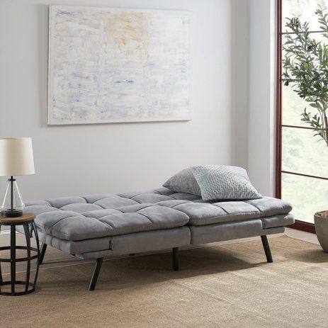 Mainstays Memory Foam Futon Black Suede Walmart Com In 2020 Futon Sofa Couch Bed Comfortable Furniture
