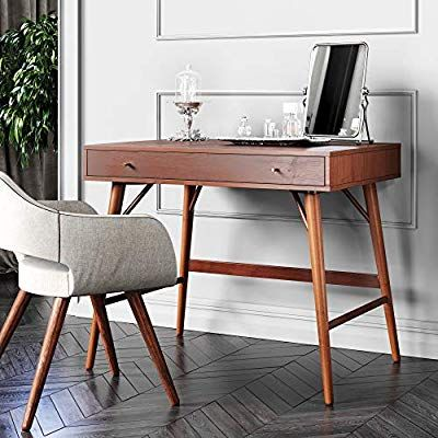 Amazon Com Bonny Wood Desk Mid Century Modern For Home Office Small Writing Station Kitchen D Solid Wood Desk Mid Century Desk Mid Century Writing Desk