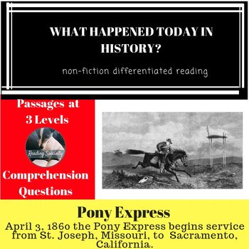 Pony Express Differentiated Reading Passage April 3 Reading