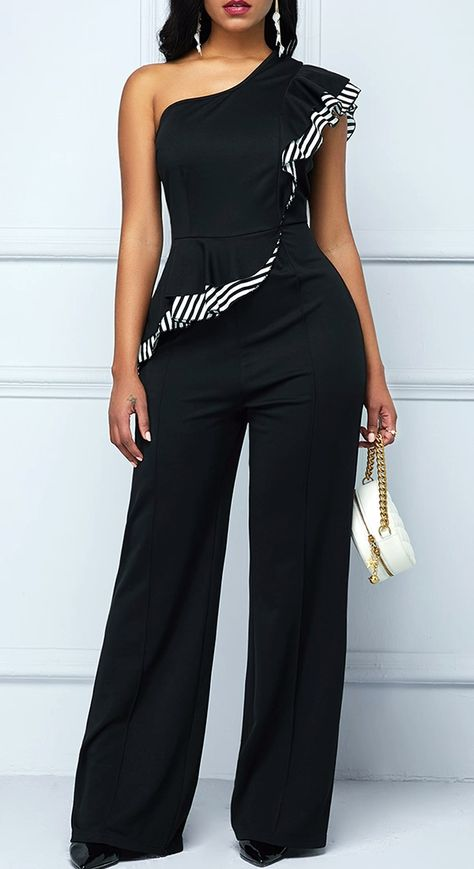 One Shoulder Ruffle Trim Black Jumpsuit