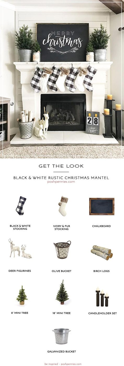 How To Create The Perfect Black & White Rustic Christmas Mantel
