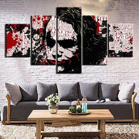 Heath Ledger Joker Batman Abstract Framed 5 Piece Movie Canvas Wall Art Painting Wallpaper Poster Picture Print Photo Decor - XLarge / With framed