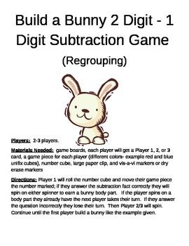 Build a Bunny 2 Digit - 1 Digit Subtraction Game Regrouping