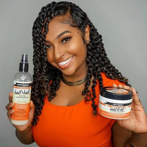 I created these two-strand twists using Half & Half Hair Silkening Milk and Seal It Up Butter from… Hey guys! I created these two-strand twists using Half & Half Hair Silkening Milk and Seal It Up Butter from…