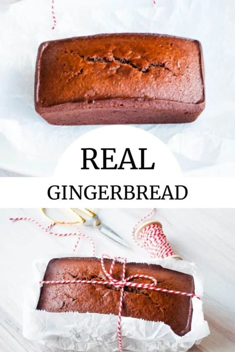 Delight everyone with this real Gingerbread Recipe. It's like the quickest quick bread filled with ginger and molasses. Perfect for giving or sharing with family over cocoa. #realgingerbread #gingerbread #gingerbreadrecipe #gingerbreadcake #quickbread #christmasgift