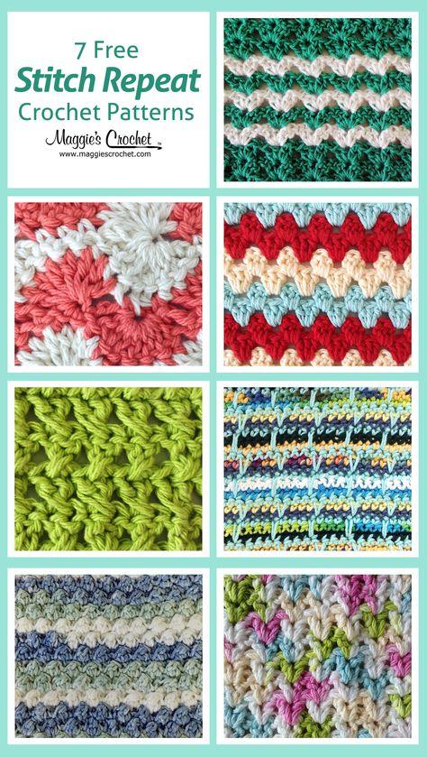 Seven Free Crochet Stitch Patterns ✿⊱╮Teresa Restegui http://www.pinterest.com/teretegui/✿⊱╮