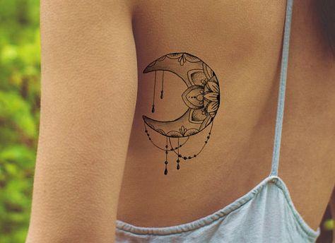lotus tattoo / mandala fake tattoo / boho vintage Moon tattoo / girly tattoo / big tattoo hipster girl festival temporary tattoo Moon Phase